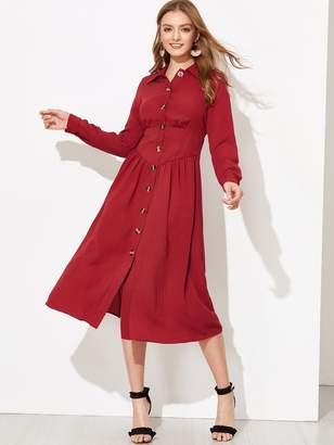 d2c408d60358 Shein Button Through Corset Waist Midi Shirt Dress
