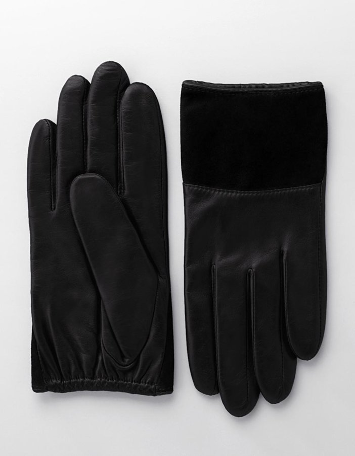 Lord & Taylor Short Suede & Leather Gloves