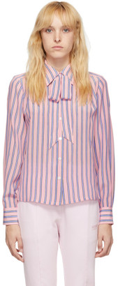 Marc Jacobs Pink Striped Silk Sofia Loves Shirt