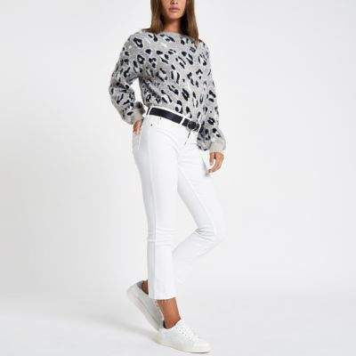 River Island Womens White denim cropped flare jeans