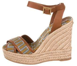 Tory Burch Woven Espadrille Wedges