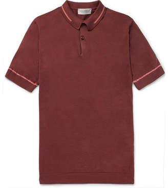John Smedley Sheldon Slim-Fit Contrast-Tipped Sea Island Cotton-Piqué Polo Shirt