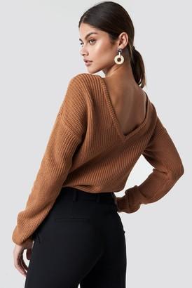 NA-KD Na Kd Knitted Deep V-neck Sweater Beige