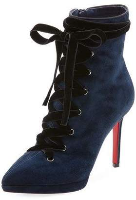 Christian Louboutin Circus Nana Lace-Up Suede Red Sole Bootie
