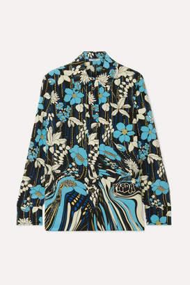 Prada Floral-print Silk Crepe De Chine Blouse - Blue
