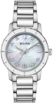 Bulova 30mm Diamond Bracelet Watch White