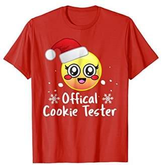 Cute Emoji Christmas Santa Hat Official Cookie Tester Shirt