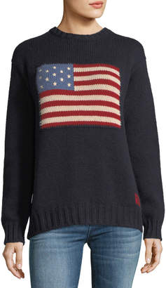 Ralph Lauren Crewneck Long-Sleeve Cashmere Pullover Sweater with Flag