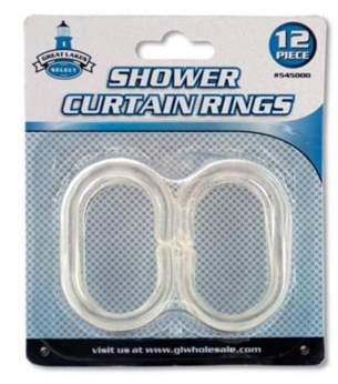 clear Kole Imports HX448-48 Shower Curtain Rings Set, 12 Piece - Pack of 48