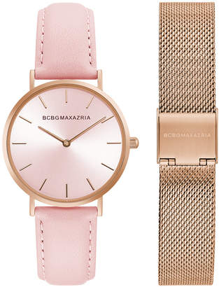 BCBGMAXAZRIA Ladies Watch Box Set with Pink Leather Strap and Rose Gold Mesh Bracelet, 36mm