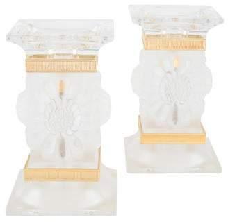 Lalique Pair of Paquerettes Candlesticks