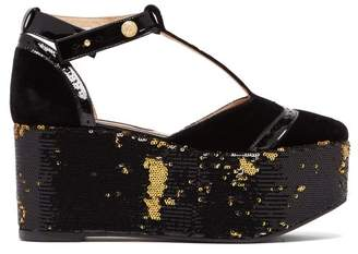 Rue St. - Petraska Velvet Sequin Flatforms - Womens - Black Gold