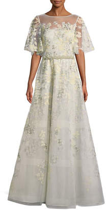 Rickie Freeman For Teri Jon Embroidered Lace Gown w/ Beaded Trim