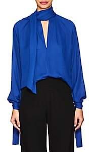 Juan Carlos Obando Women's Georgette Tieneck Blouse-Royal Blue