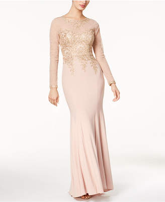 Xscape Evenings Embroidered Mesh Mermaid Gown