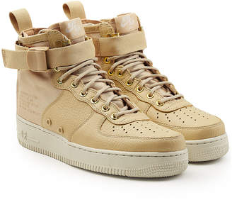 Nike SF Air Force 1 Mid Top Sneakers with Leather and Mesh