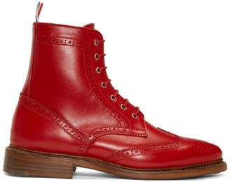 Thom Browne Red Wingtip Boots