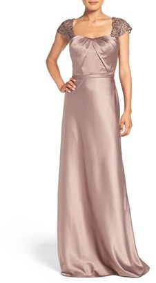 Women's La Femme Embellished Lace & Satin Gown $538 thestylecure.com