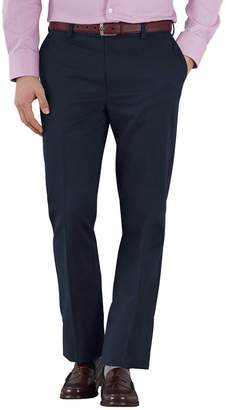 Charles Tyrwhitt Navy Slim Fit Flat Front Non-Iron Cotton Chino Pants Size W32 L34