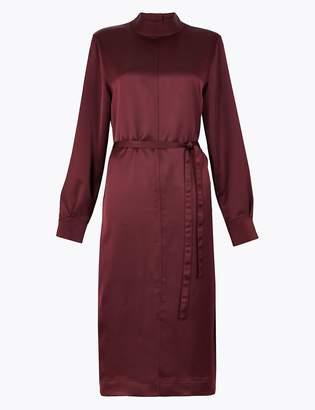 Marks and Spencer High Neck Satin Midi Dress