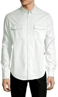 MSGM Logo Cotton Button-Down Shirt