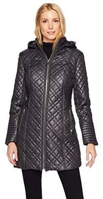 Via Spiga Women's Center Zip Diamond Quilt Coat Hood