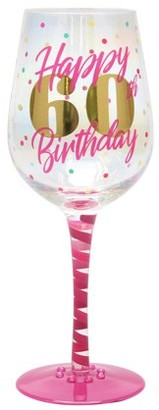 TOP SHELF Top Shelf Novelty 60th Birthday Luster Wine Glass for Red or White Wine