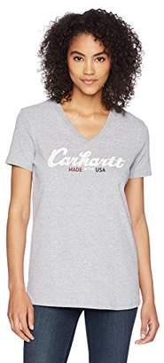 Carhartt Women's Lockhart Graphic Script Logo Ss Vneck T-Shirt