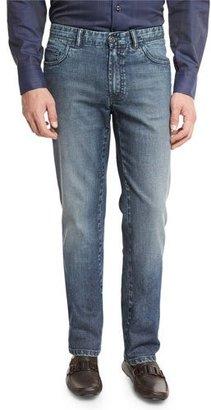Brioni Dark-Wash Denim Straight-Leg Jeans, Blue $750 thestylecure.com