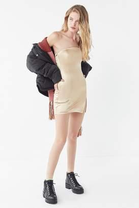 Motel Pesona Satin Strapless Mini Dress