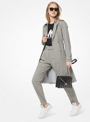 Michael Kors Glen Plaid Stretch-Wool Trench Coat