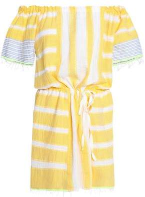 Lemlem Off-The-Shoulder Striped Cotton-Gauze Coverup