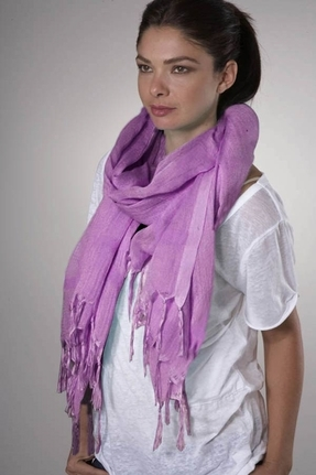 LoveQuotes Scarves Love Quotes Linen Knotted Fringe Scarf in Freesia