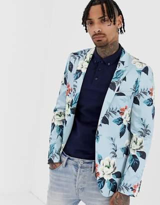 Asos Design DESIGN skinny blazer with floral allover print in blue