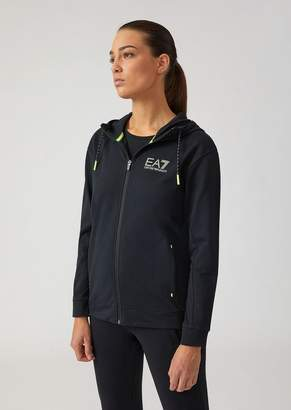 Emporio Armani Ea7 French Terry Sweatshirt With Zip And Neon Details