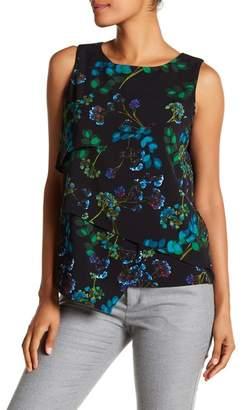 Modern American Designer Floral Layered Woven Blouse