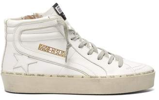 Golden Goose Slide High Top Leather Trainers - Womens - White
