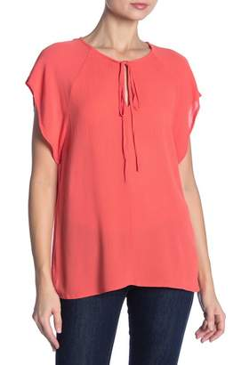 1 STATE 1.State Short Sleeve Tie Neck Blouse