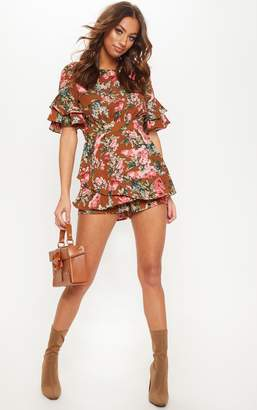 PrettyLittleThing Chocolate Printed Frill Sleeve Tie Back Playsuit