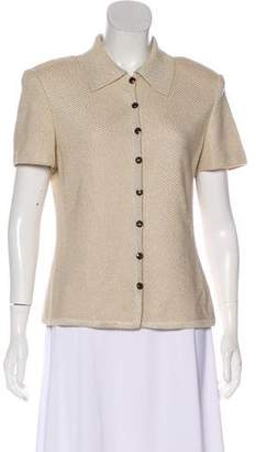 St. John Metallic Short Sleeve Cardigan