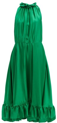 MSGM Ruffle Trimmed Charmeuse Dress - Womens - Green
