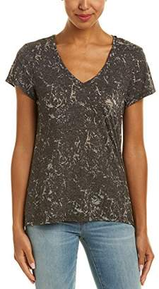 Michael Stars Women's Marble Burnout V-Neck Tee with Center Back Seam