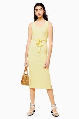 4d9dafbd6cae Topshop Womens Ribbed Belted Column Dress - Lemon