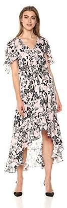 Parker Women's Demi Flutter Sleeve High Low Silk Dress