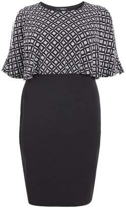 Quiz Curve Black and Silver Square Design Midi Dress