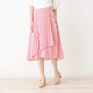 HusHusH (ハッシュアッシュ) - HusHusH(Ladies) ◆【洗える】イレギュラーヘムストライプラップ風スカート
