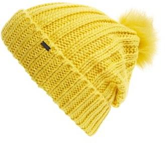 Women's Maison Scotch Faux Fur Pom Beanie - Yellow $45 thestylecure.com