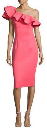 Jovani One-Shoulder Ruffle Scuba Cocktail Dress, Watermelon $495 thestylecure.com