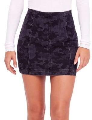 Free People Modern Femme Novelty Camo Stretch Mini Skirt