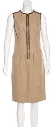Magaschoni Leather-Trimmed Wool Dress